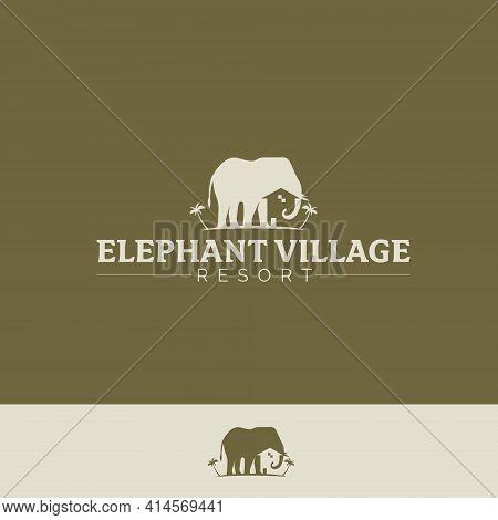 Elephant Village Version 2 Vector Symbol  Tropical Village And Elephant Concept