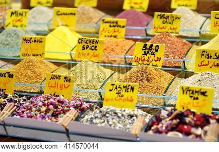 Showcase For Sales Of Herbs, Spices And Tea On The Grand Bazaar, Istanbul. Traditional Turkish Kitch