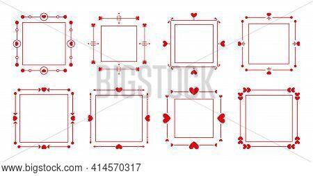 Red Filigree Decorative Text Frames Set. Elegant Vintage Border With Hearts For Decor Wedding Invita