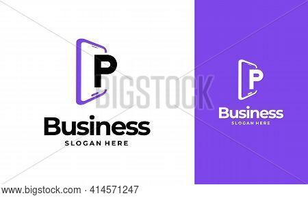 P-initial Phone Logo Designs, Phone Shop Logo Designs, Modern Phone Logo Designs Vector Icon