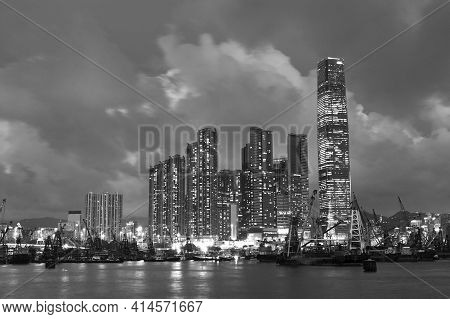 Skyline Of Victoria Harbor Of Hong Kong City At Night