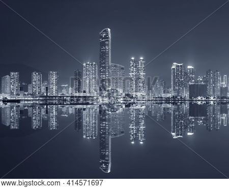 Panorama Of Skyline Of Hong Kong City At Night