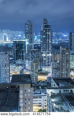 Night Scenery Of Downtown District Of Hong Kong City