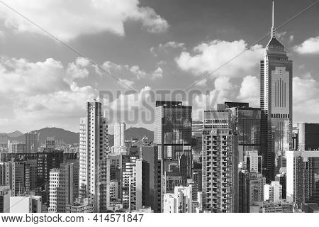 Skyline Of Hong Kong City In Black And White