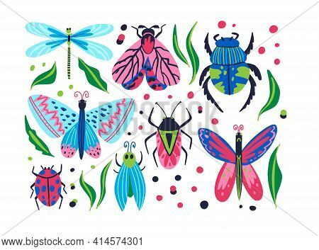 Insects Set. Cartoon Doodle Bright Colorful Butterfly And Dragonfly, Hand Drawn Moth And Beetle, Lad