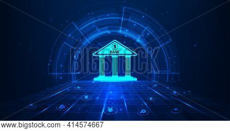 Banking Technology Concept.isometric Illustration Of Bank On Dark Blue Technology Background. Digita