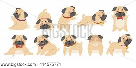 Cute Baby Pugs Kids Isolated Clipart Bundle