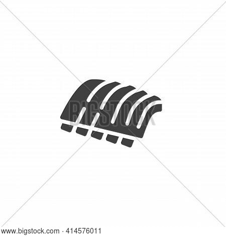 Bbq Ribs Vector Icon. Filled Flat Sign For Mobile Concept And Web Design. Barbeque Meat Ribs Glyph I