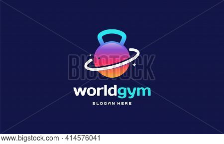 World Gym Fitness Logo Designs Concept Vector, Gymnastic Logo Template Vector