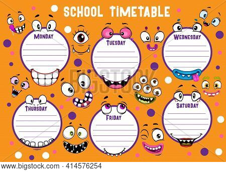 School Timetable With Funny Smiling Monster Faces Vector Template, Weekly Classes Schedule. School T