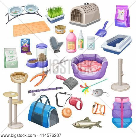 Pet Shop Supplies Of Cat Care Vector Cartoon. Animal Food, Bowl And Toy, Grooming Accessory, Bed, Le