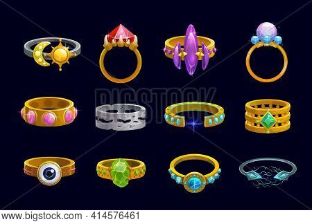 Magic Rings Cartoon Vector Of Fantasy Game Jewelry, User Interface Or Ui Design. Gold And Silver Pre