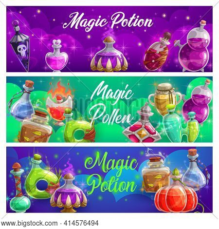 Magic Potion Bottles Vector Banners, Magical Elixir Or Pollen In Glass Flasks. Fairy Dust, Love Or D