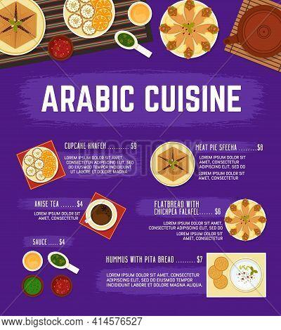 Arabic Cuisine Menu. Vector Meat Pie Sfeeha, Hummus With Pita Bread, Flatbread With Chickpea Falafel
