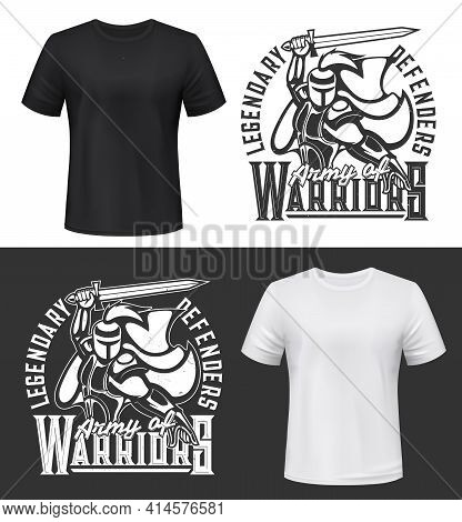 Tshirt Print With Knight And Sword Vector Mockup, Fight Club Mascot Medieval Warrior In Helmet And C