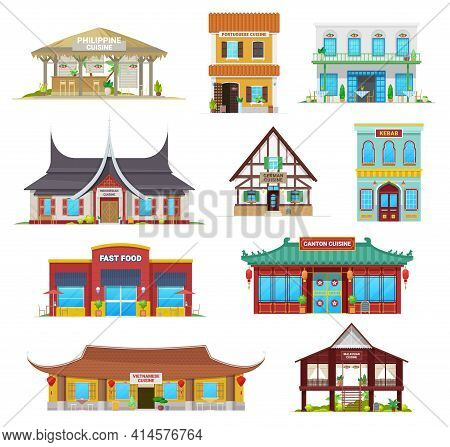 National Cuisine Restaurant Buildings Vector Icons. Philippine, Portuguese And Indonesian, German, K