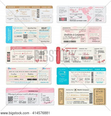 Boarding Pass Ticket Of Wedding Invitation Vector Templates. Airline Plane Tickets And Flight Cards