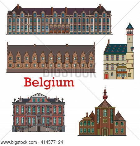 Belgium Landmarks And Architecture, Belgian Liege Palaces, Cathedrals And Churches, Vector. Belgium