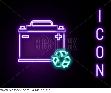 Glowing Neon Line Car Battery With Recycle Icon Isolated On Black Background. Accumulator Battery En