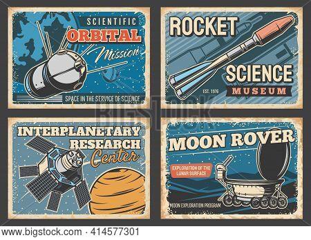 Space Rocket, Astronaut Rocket And Moon Rover Posters, Vector Retro Vintage. Spaceship Flight And Un