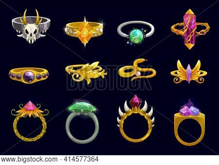 Magic Rings And Fantasy Jewelry Cartoon Vector Design Of Game User Interface Or Ui. Wizard Or Witch