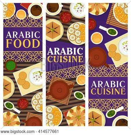 Arabic Cuisine Vector Dishes Anise Tea, Meat Pie Sfeeha, Hummus With Pita Bread, Flatbread With Chic