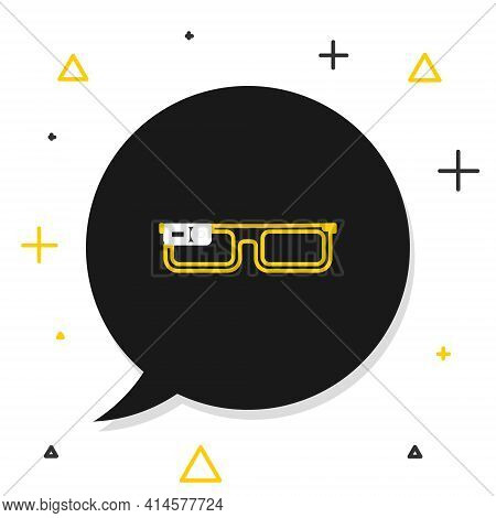Line Smart Glasses Mounted On Spectacles Icon Isolated On White Background. Wearable Electronics Sma
