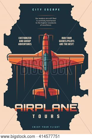 Airplane Tours, Plane Jet Travel And Aircraft Journey, Vector Retro Vintage Poster. Air Trip With Pi