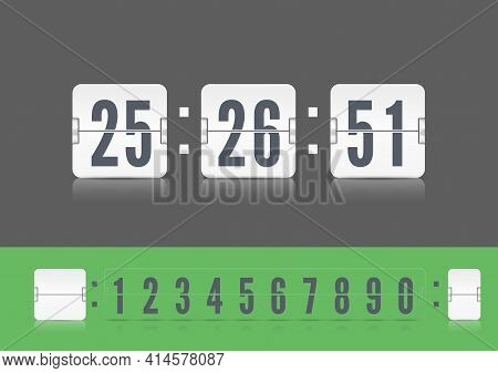 Vector Modern Ui Old Countdown Timer. Coming Soon Web Page Design With Flip Time Counter. White Scor
