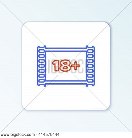 Line Play Video With Inscription 18 Plus Icon Isolated On White Background. Age Restriction Symbol.