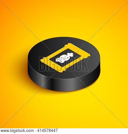 Isometric Line Play Video With Inscription 18 Plus Icon Isolated On Yellow Background. Age Restricti