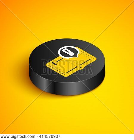 Isometric Line Interesting Facts Icon Isolated On Yellow Background. Book Or Article Sign. Exclamati