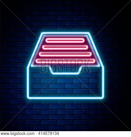 Glowing Neon Line Drawer With Documents Icon Isolated On Brick Wall Background. Archive Papers Drawe
