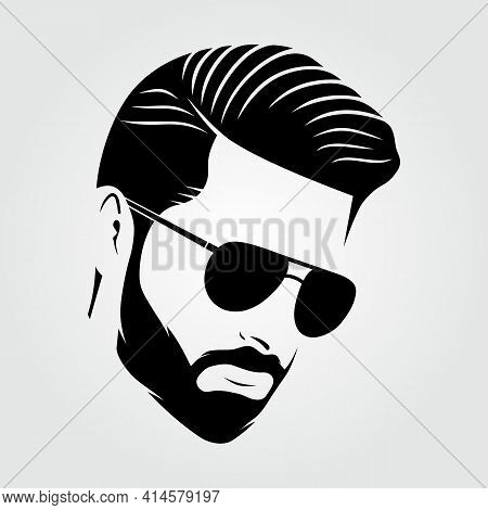 Bearded Men In Sunglasses, Hipster Face Icon Isolated. Vector Illustration