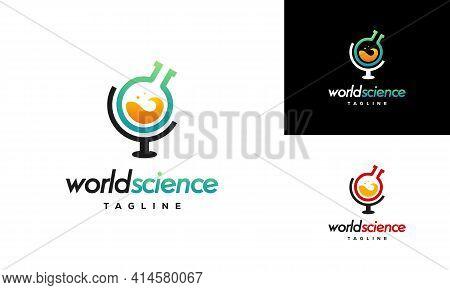 World Science Logo Designs Concept Vector, Laboratory Logo Designs Template