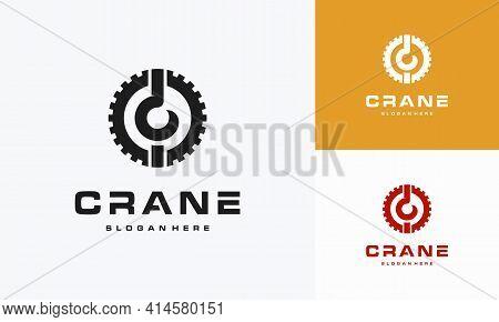Crane Logo Designs With Gear , Build Logo Design. Construction Logo Vector Illustration