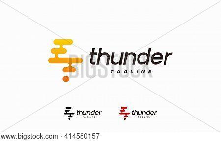 Pixel Thunder Flash Logo Designs Concept Vector,tech Lightning Logo Symbol