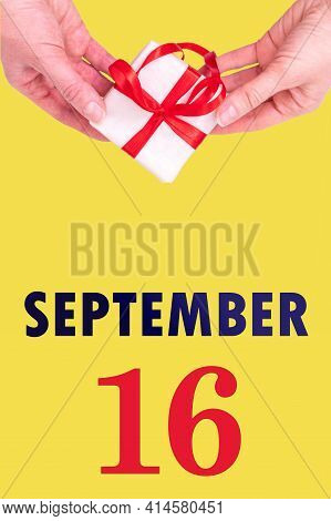 September 16th. Festive Vertical Calendar With Hands Holding White Gift Box With Red Ribbon And Cale
