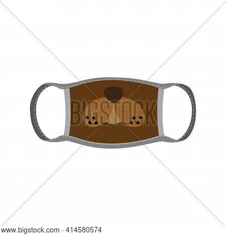 Doggie Face Design On Medical Facial Mask Flat Vector Illustration Isolated.