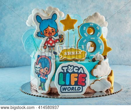 Cake Based On The Game Toka Life, For An Eight-year-old Girl For Her Birthday.