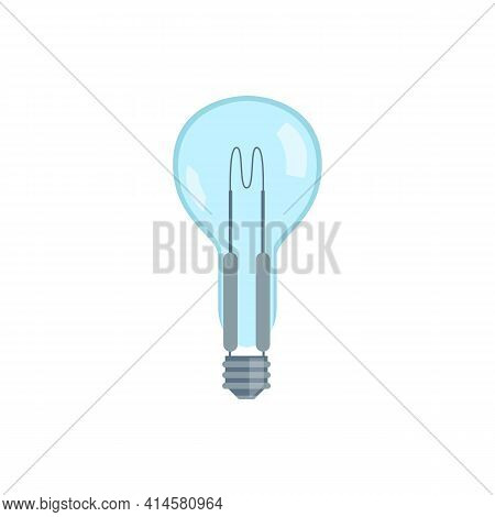 Incandescent Lighting Electric Light Bulb, Flat Vector Illustration Isolated.