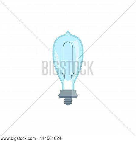 Incandescent Retro Light Bulb With Wire, Flat Vector Illustration Isolated.