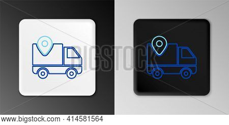 Line Delivery Tracking Icon Isolated On Grey Background. Parcel Tracking. Colorful Outline Concept.