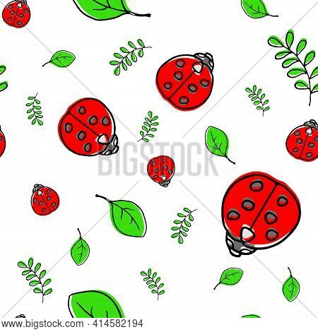 Ladybug Ladybird Green Leaf Cute Seamless Pattern Vector Illustration. For Printing Brochure, Poster