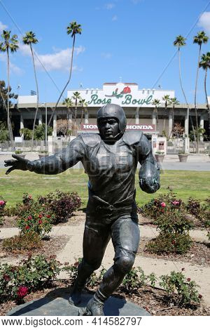 PASADENA, CA USA - March 26, 2021: Rose Bowl stadium and logo. The Rose Bowl located in Pasadena California is a United States outdoor Foot Ball and Sports stadium. Editorial Use Only.