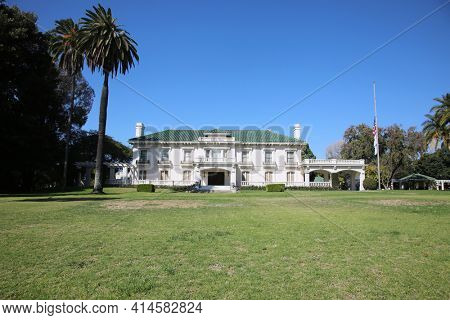Pasadena, California, USA - March 26, 2021: Wrigley Mansion now Tournament House. This location is the permanent headquarters for the Tournament of Roses. Editorial Use Only.