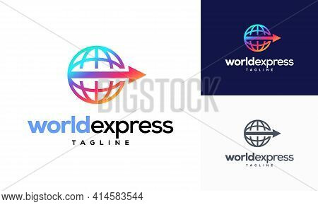World Express Delivery Logo, Logistic Company Vector Logo Template