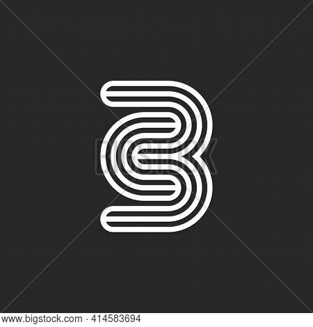Initials Cb Or Bc Letters Logo Monogram Black And White Think Lines, Minimal Creative C3 Emblem, Two