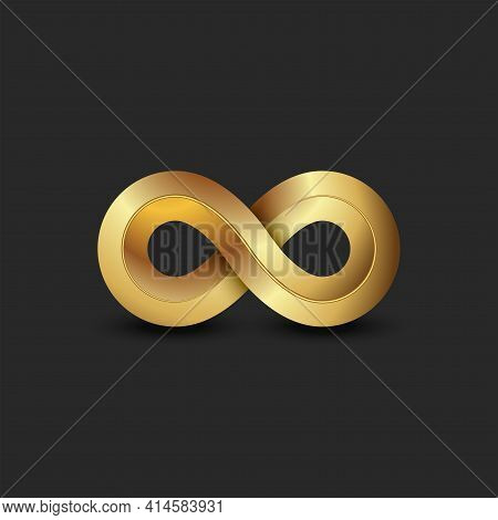 Infinite Logo 3d Golden Ratio Geometric Shape, Gold Gradient Infinity Symbol Technology Symbol.