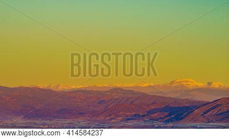 Sierra Nevada Mountain Range In Spain. Nature Landscape. Popular Tourist Destination.
